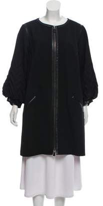 Andrew Gn Leather-Trimmed Knee-Length Coat