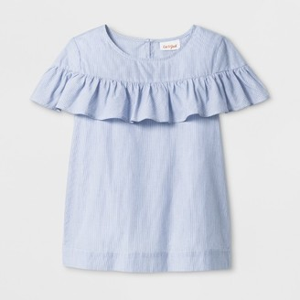 Cat & Jack Girls' Short Sleeve Woven Pinstripe Ruffle Top - Cat & Jack Blue $14.99 thestylecure.com
