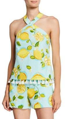 Trina Turk Cedar Lemon-Print Halter Top w/ Tassels