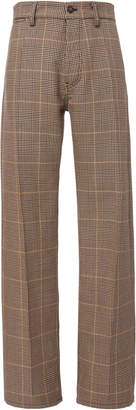 Marni Checked Wide Leg Wool Trouser