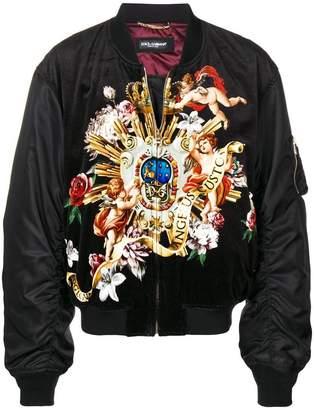 Dolce & Gabbana romantic print bomber jacket