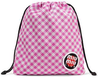 Miu Miu Appliquéd Gingham Canvas Pouch - Pink