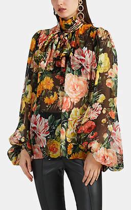 Dolce & Gabbana Women's Floral Silk Organza Balloon-Sleeve Blouse - Black