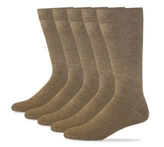 Dockers 5 Pack Classics Dress Flat Knit Crew Socks, Black, 10-13 Sock/6-12 Shoe