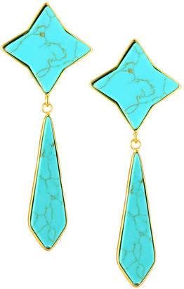 Panacea Textile Drop Earrings, Turquoise-Color