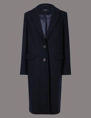 Marks and Spencer Wool Rich Single Breasted Coat with Cashmere
