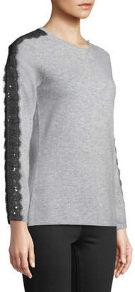 Neiman Marcus Sequin Cashmere Sweater with Sequin Lace Trim