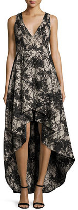 Alice + Olivia Sleeveless Lace High-Low Cocktail Dress, Black/Sesame $1,095 thestylecure.com