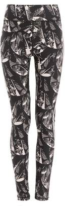 The Upside Japanese Forest Print Technical Jersey Leggings - Womens - Black Pink