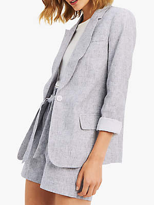 Textured Linen Blend Jacket, Pale Grey