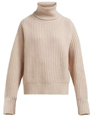 Joseph Pearl Roll Neck Ribbed Wool Sweater - Womens - Light Brown