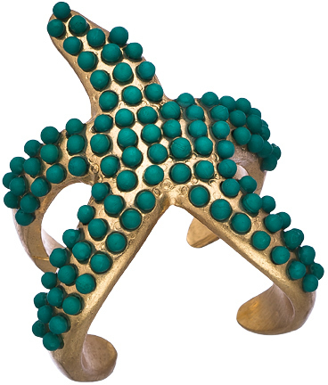 Blu Bijoux Gold and Turquoise Starfish Ring