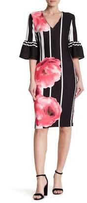 ECI 3/4 Sleeve Print Sheath Dress