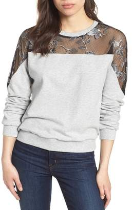 Vince Camuto Embroidered Swiss Dot Panel Sweatshirt