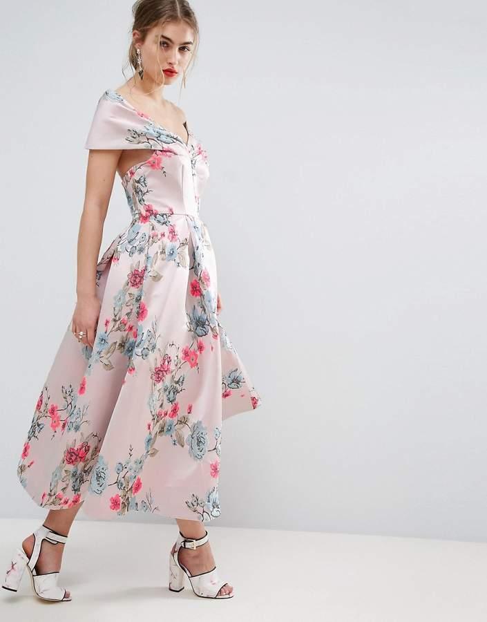 AsosASOS SALON Floating Bardot Jacquard Midi Prom Dress