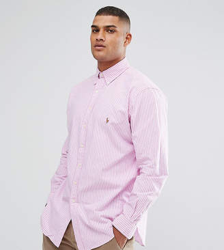 Polo Ralph Lauren Big & Tall Oxford Shirt In Pink Stripe