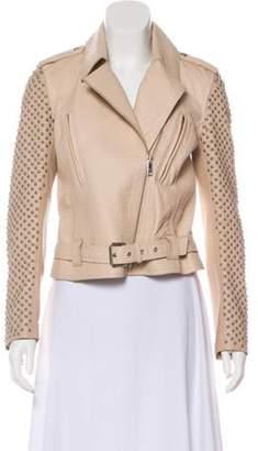 Nour Hammour Leather Belted Jacket Pink Leather Belted Jacket