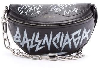 COM · Balenciaga Souvenir Graffiti Print Leather Bag - Womens - Black White ae76272ad4891