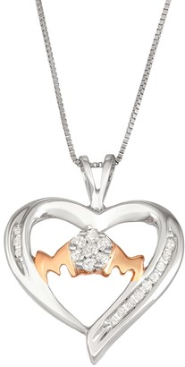 "Sterling Silver 1/5 Carat T.W. Diamond ""Mom"" Heart Pendant Necklace"