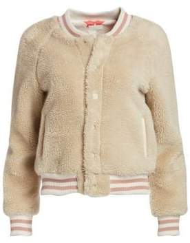 Mother The Snap Faux-Fur Letterman Jacket