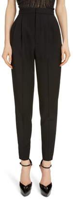 Saint Laurent High Waist Pleated Wool Pants