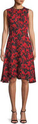 Milly Anna Floral-Print Silk A-Line Dress
