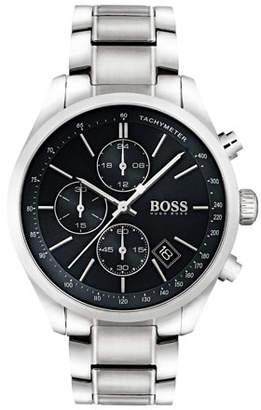 HUGO BOSS Men's Grand Prix Chronograph Watch with Bracelet, Black/Silver