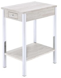 ACME Philo Side Table in Chrome and White