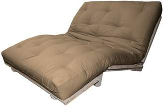LOFT Comfort Style Lounger All Cotton 8-inch All Cotton Filled Sit, Lounge, or Sleep Futon Sofa Sleeper Bed, Full, Unfinished, Suede Mocha Brown