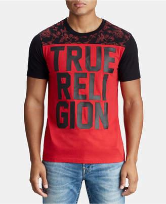 True Religion Mens Floral Yoke Graphic Logo T-Shirt