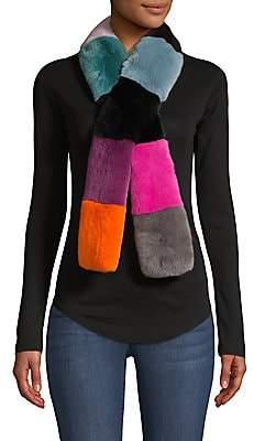 Jocelyn Women's Savage Love Rex Rabbit Fur Colorblocked Pull-Through Scarf