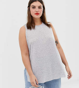 f69af8c161 Asos DESIGN Curve sleeveless top with side split in linen mix in grey