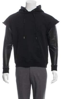 Saint Laurent Leather-Trimmed Pullover Hoodie