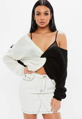 Missguided Black Monochrome Twist Front Splice Sweater