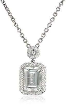 Sterling Silver Amethyst Emerald Shape Pendant Necklace