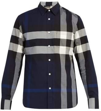 Burberry Windsor Check Cotton Blend Shirt - Mens - Blue Multi