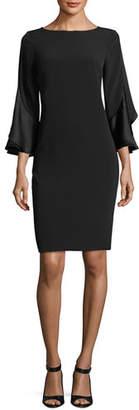 Rickie Freeman For Teri Jon 3/4-Sleeve Sheath Cocktail Dress w/ Ruffles