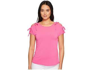 CeCe Short Sleeve Crepe Knit Top with Shoulder Ties