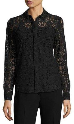 Elie Tahari Avon Embellished Lace Blouse, Black $398 thestylecure.com