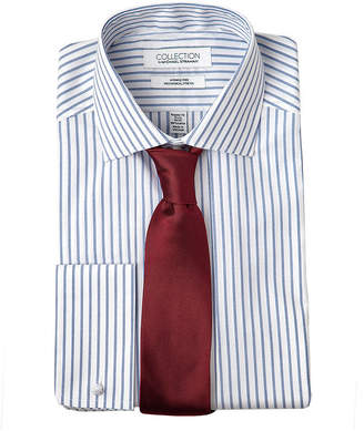 COLLECTION Collection by Michael Strahan Mens Spread Collar Long Sleeve Wrinkle Free Stretch Dress Shirt with French Cuffs
