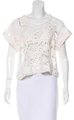 IRO Short Sleeve Crocheted Top