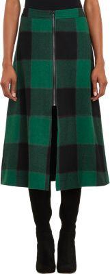 Sea Plaid Flannel A-line Skirt