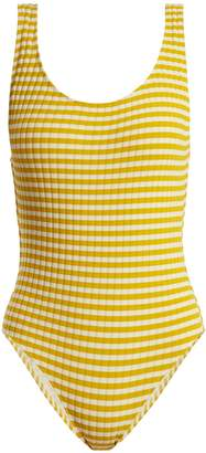 The Anne-Marie striped ribbed swimsuit