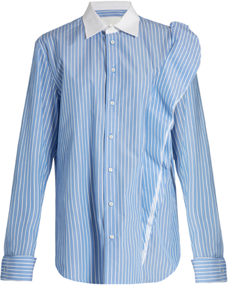 MAISON MARGIELA Oversized striped cotton-poplin shirt $755 thestylecure.com