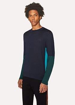 Paul Smith Men's Dark Navy Color-Block Crew-Neck Wool-Silk Sweater