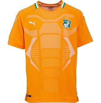 Puma Junior Boys FIF Ivory Coast Home Replica Shirt Orange/Green