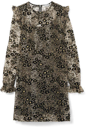 Opening Ceremony Glittered Flocked Corded Lace Mini Dress - Gold