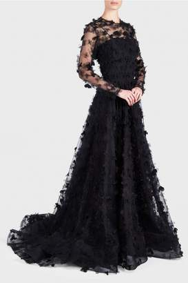 Christian Siriano Sheer Floral Applique Gown