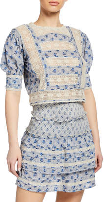 Love Sam Antoinette Cropped Floral Lace Short-Sleeve Top