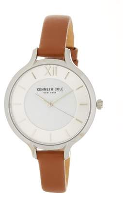 Kenneth Cole New York Women's Classic Mother of Pearl Leather Strap Watch, 34mm